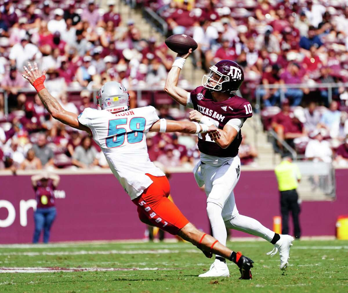COLLEGE STATION, TX - SEPTEMBER 18: Quarterback Zach Calzada #10 of the Texas A&M Aggies throws during the second quarter of the game against New Mexico Lobos at Kyle Field on September 18, 2021 in College Station, Texas.