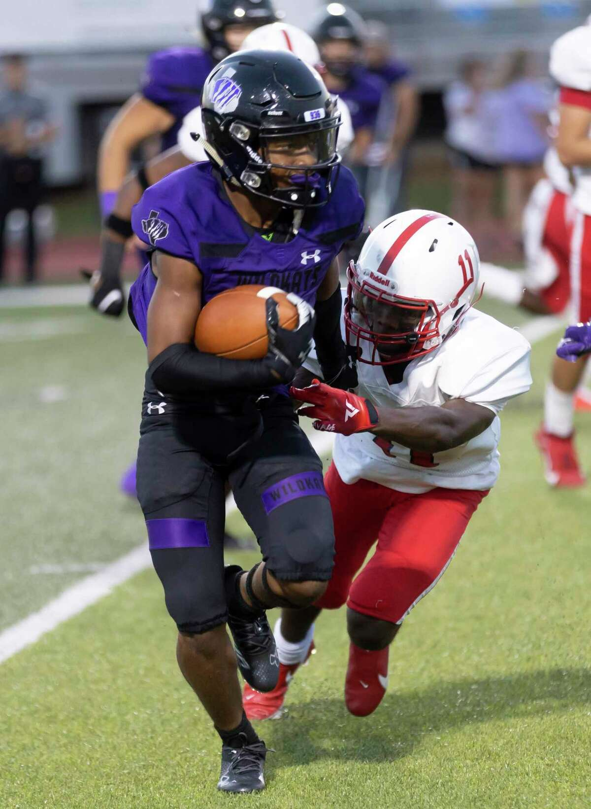 Willis running back Devon Lovelady (1), shown here last week against Houston Bellaire, scored on an 80-yard touchdown Friday night at A&M Consolidated.