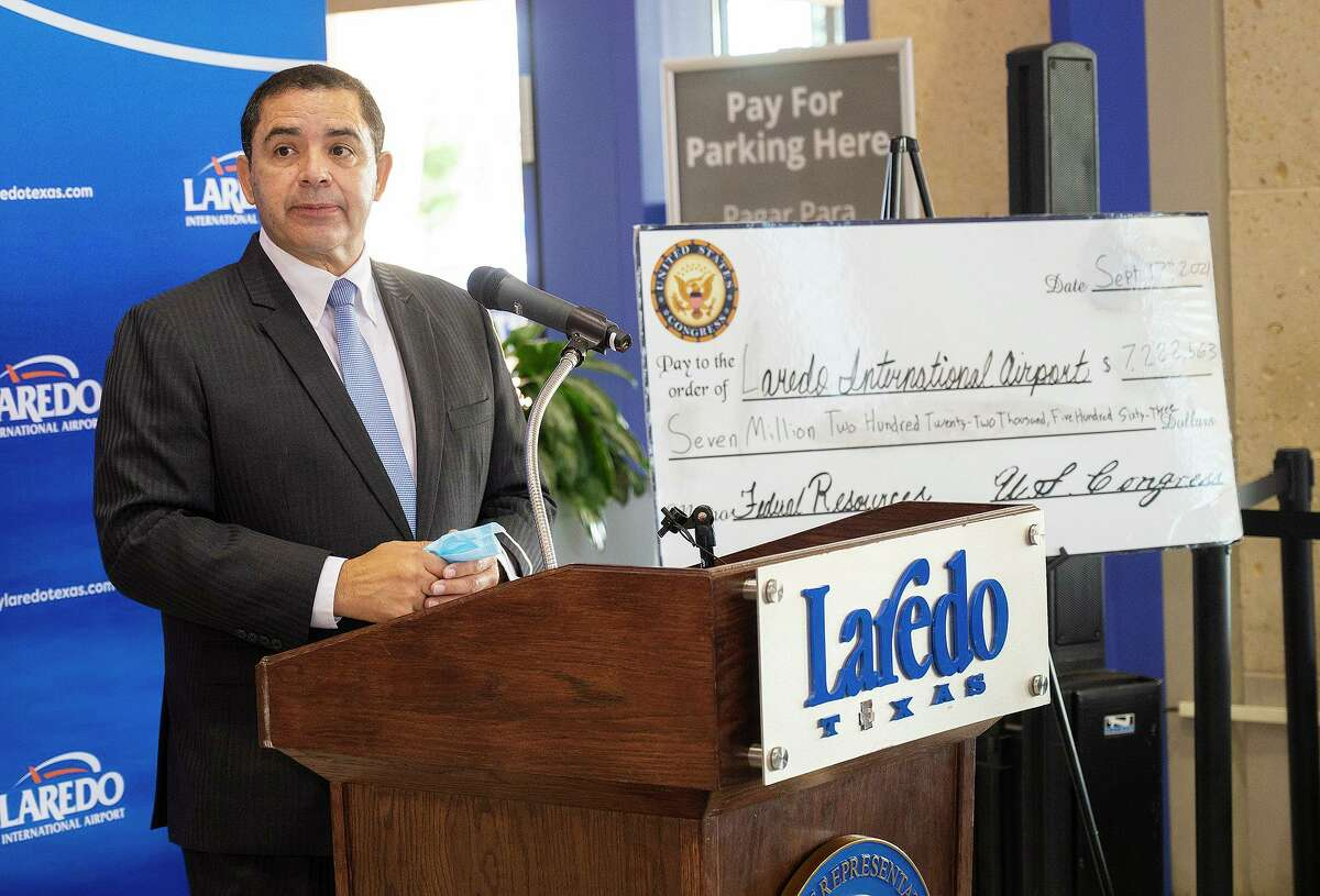 U.S. Congressman Henry Cuellar speaks about the grant for the Laredo International Airport, Friday, Sept. 17, 2021, as a $7,222,563 grant for the airport is announced.