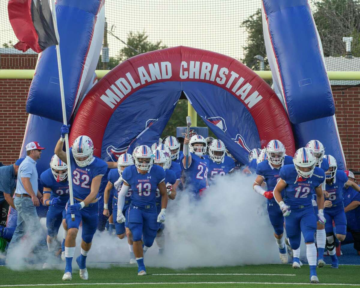 Midland Christian players take the field as they prepare to play FW Nolan 09/17/2021 at Gordon Awtry Field. Tim Fischer/Reporter-Telegram