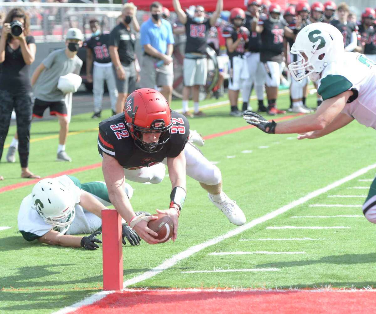 Glens Falls running back Griffin Woodell stretches the ball over the goal line during a game against Schalmont on Saturday, Sept. 18, 2021. Glens Falls is the top-ranked Class B team in Section II.