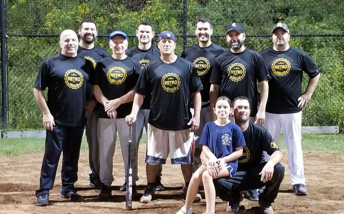 The Retro Grub and Pub took second in the Shelton Men's Over 35 Softball League playoffs. Team members (front row) Josh Krize; (second row) Mark Berretta, Doug Peterson, Jeff Hartshorn and Jay Ambrosio; (third row) Eric Bleakney, Tom Kavanagh, Chris Moore and Tony DeFelice. John Recce is missing from photo.