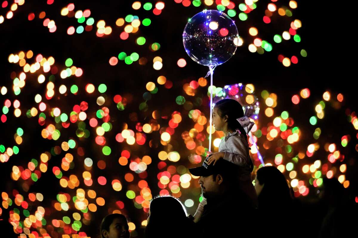 Isabella Martinez, 4, looks at thousands of holiday lights during UIW's 2019 Light The Way celebration.