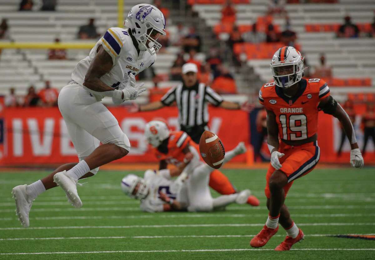 UAlbany quarterback Joey Carino throws an incomplete pass to UAlbany slot receiver Roy Alexander in the third quarter of their game against Syracuse on Sept. 18, 2021, at the Carrier Dome.