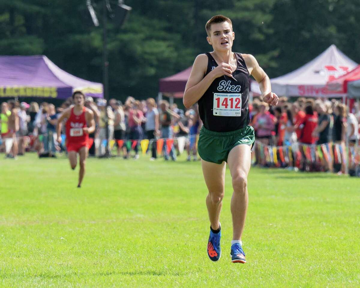 With a time of 15:35.37, Shenendehowa senior Nathan Brimhall wins the boys' Division I race at the Queensbury-Adirondack Invitational at Queensbury High School on Saturday, Sept. 18, 2021. He beat Niskayuna senior Julian Franjieh, who finished with a time of 15:45.54.