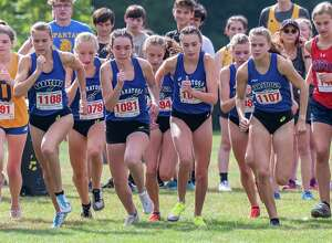 With a total time of 1:33:04.31, the Saratoga team won the overall girls Division I cross country meet of the Queensbury Adirondack Invitational at Queensbury High School on Saturday, Sept. 18, 2021. (Jim Franco/Special to the Times Union)