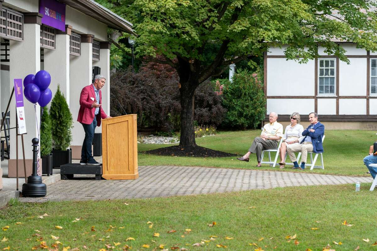 Presidential Inaugural Poet and Visiting Artist Richard Blanco read a poem to commemorate the opening of the Saratoga Performing Arts Center School for the Arts on Saturday, Sept. 18, 2021.