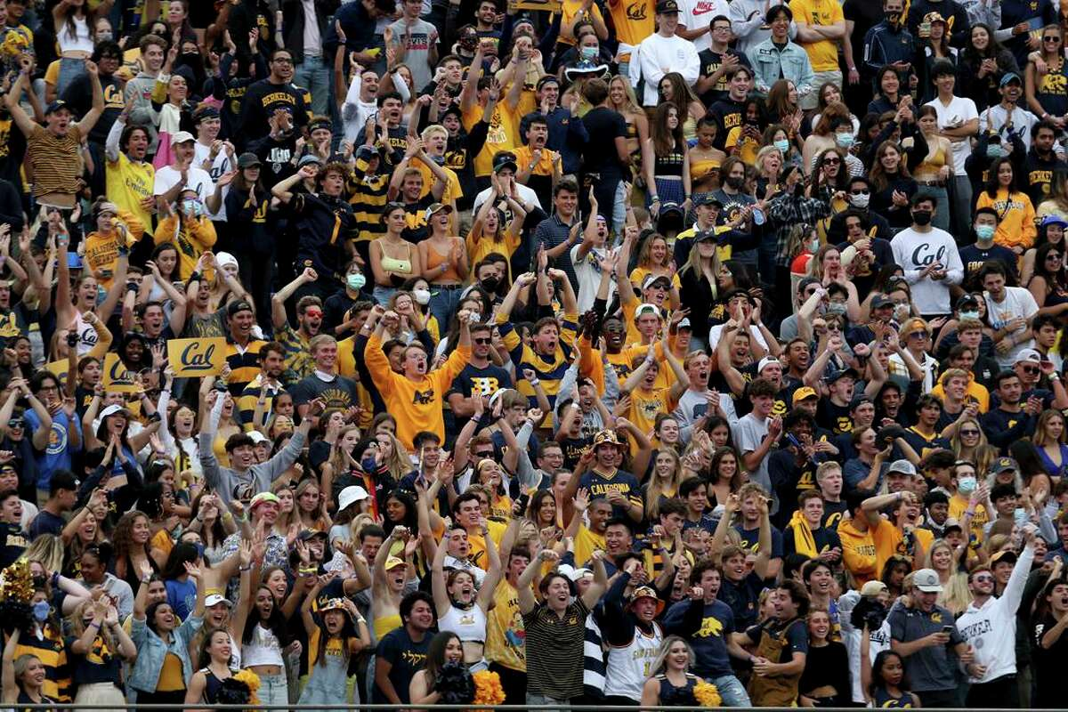 California fans cheer their team as they play Sacramento State during the first half of an NCAA college football game on Saturday, Sept. 18, 2021, in Berkeley, Calif. (AP Photo/Jed Jacobsohn)