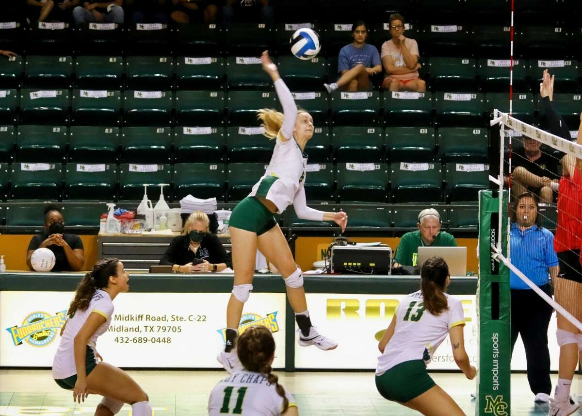 Midland College sophomore outside hitter Lucie Maceckova puts an attack on visiting New Mexico Junior College during a conference volleyball match, Saturday at Chaparral Center.