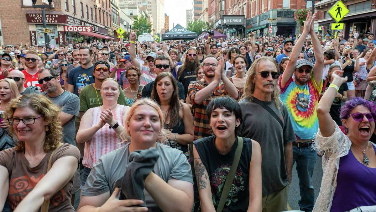 The crowd enjoys music by Slothrust during PearlPalooza on North Pearl Street in Albany, NY, on Saturday, 18, 2021. (Jim Franco/Special to the Times Union)
