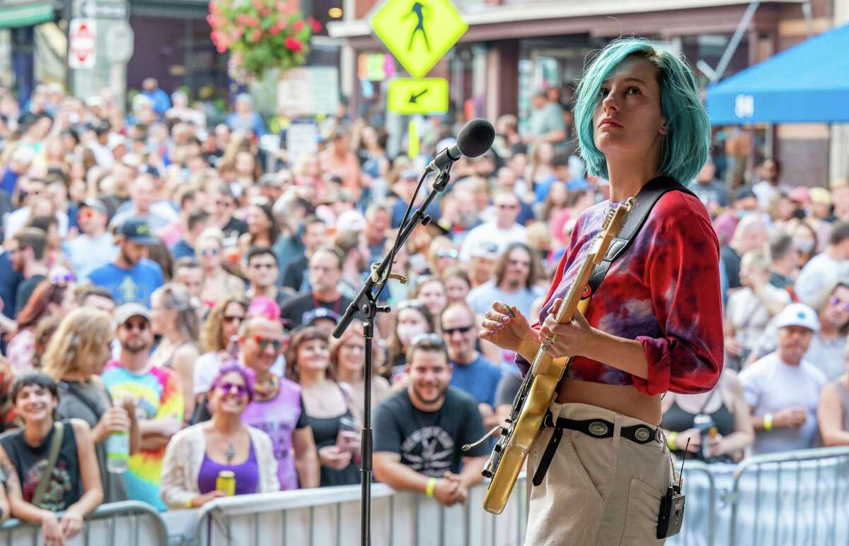 Leah Wellbaum, of Slothrust, performs at PearlPalooza on North Pearl Street in Albany, NY, on Saturday, 18, 2021. (Jim Franco/Special to the Times Union)
