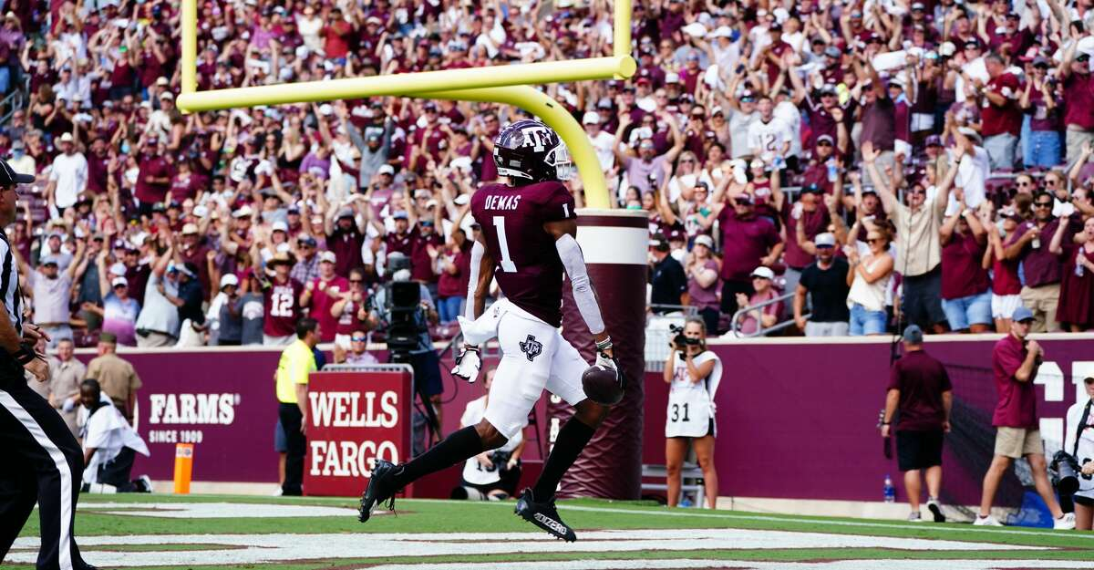 Wide receiver Demond Demas #1 of the Texas A&M Aggies scores a touchdown in the first quarter of the game against the =New Mexico Lobos at Kyle Field on September 18, 2021 in College Station, Texas. (Photo by Alex Bierens de Haan/Getty Images)