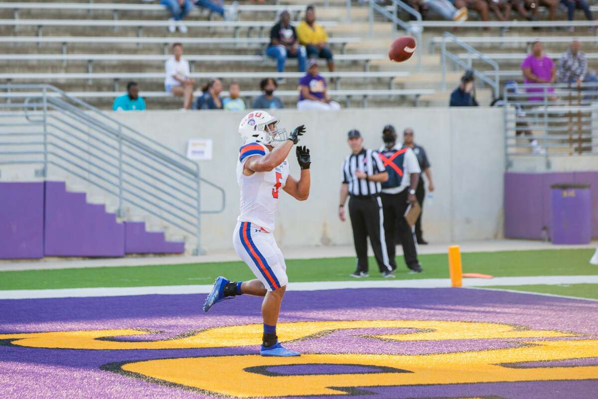 Houston Baptist University WR Charles King (5) makes a catch for a touchdown during the first half of action between Houston Baptist University vs. Prairie View A&M during a College football game at the Panther Stadiium/Blackshear Field, Saturday, September 18, 2021, in Prairie View A&M. (Juan DeLeon/Contributor)