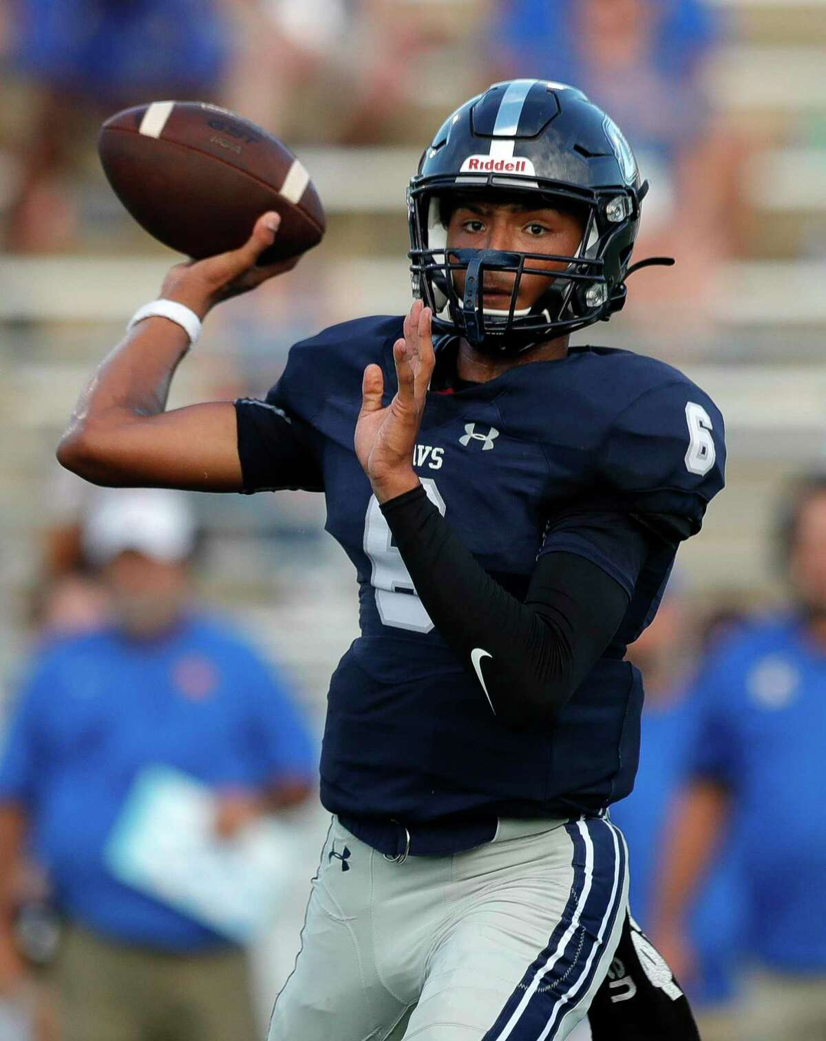 College Park quarterback Ty Buckmon (6) drops back to pass during the first quarter of a high school football game at Woodforest Bank Stadium, Saturday, Sept. 18, 2021, in Shenandoah.