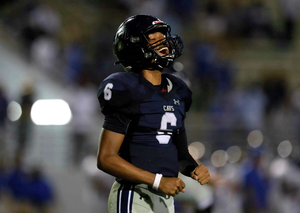 College Park quarterback Ty Buckmon (6) reacts after rallying for a 38-24 win over Klein during a high school football game at Woodforest Bank Stadium, Saturday, Sept. 18, 2021, in Shenandoah.