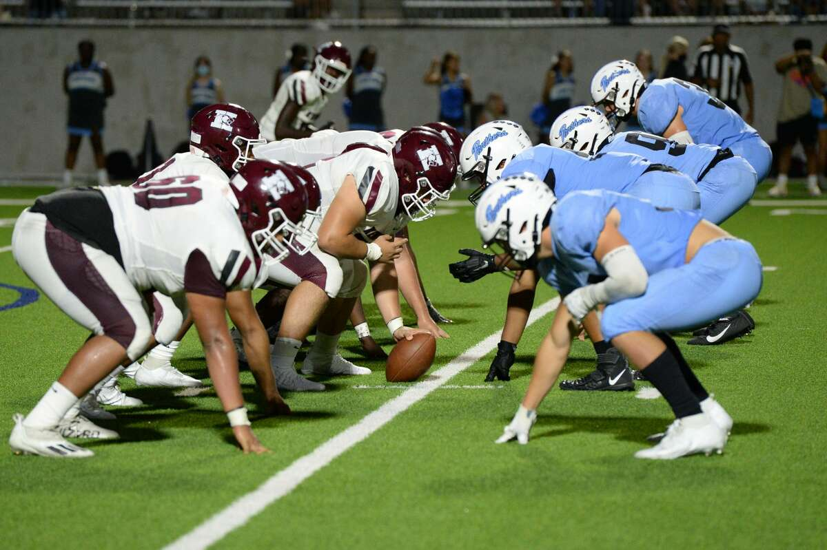 The Paetow Panthers line up against the Kempner Cougars during the third quarter of a District 10-5A-I football game on Saturday, September 18, 2021 at Legacy Stadium, Katy, TX.