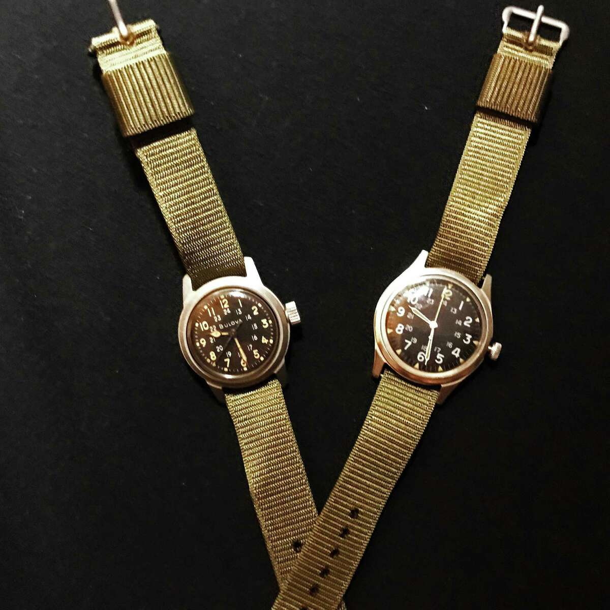 Two watches (a Bulova and a Benrus) columnist Susan Campbell recently received in honor of her father.