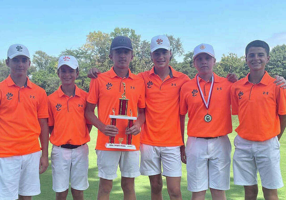 The Edwardsville boys golf team poses with the third-place trophy from the Pekin Dragon Invitational.