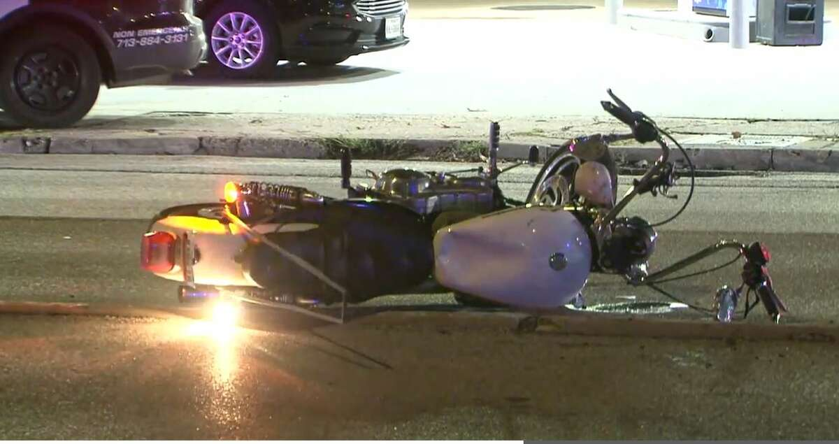 Photo captured by Metro Video of a motorcycle struck by a police officer on Sept. 19, 2021 at Washington and Studemont