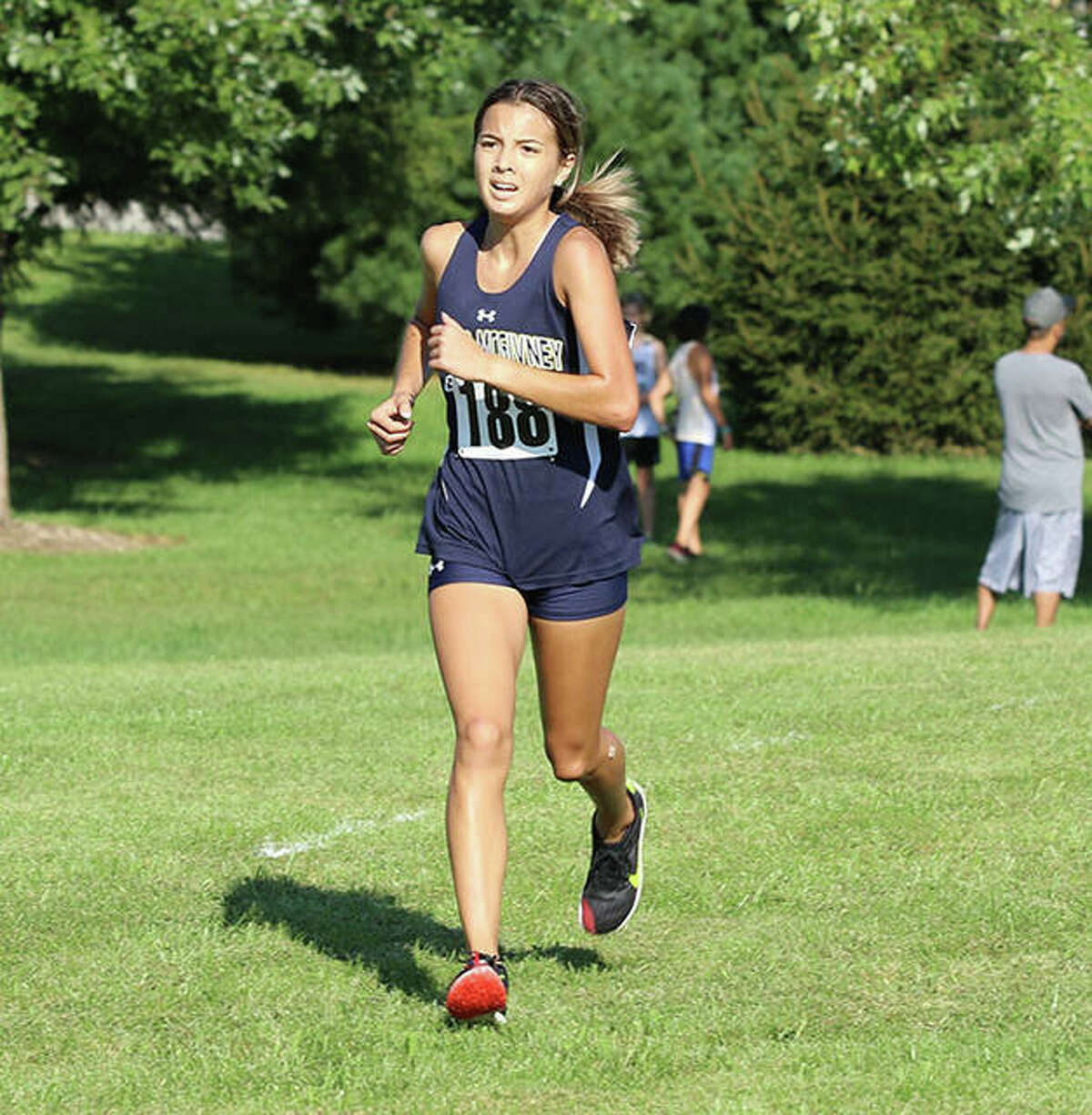 Father McGivney's Kaitlyn Hatley competes in the Highland Invitational on Saturday in Alhambra.