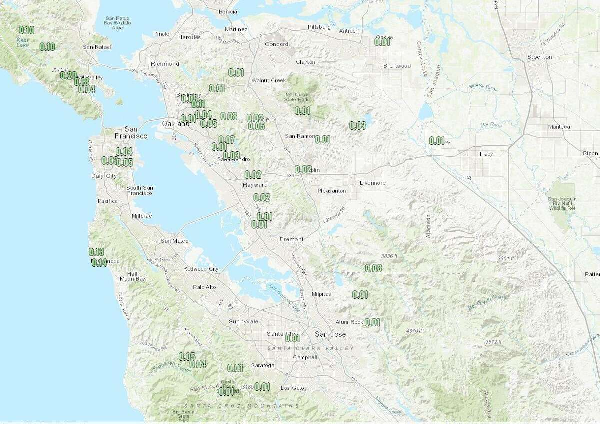 Light rain fell across parts of the Bay Area this weekend.