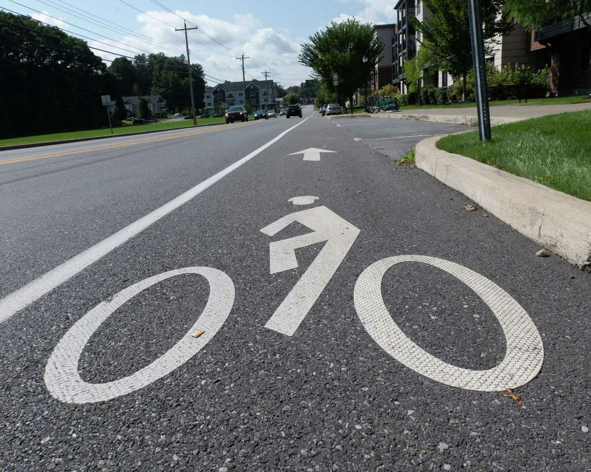 The bike lane on Excelsior Avenue in Saratoga starts at this intersection with Marion Avenue and ends about a quarter mile down the road on East Avenue. (Jim Franco/Special to the Times Union)