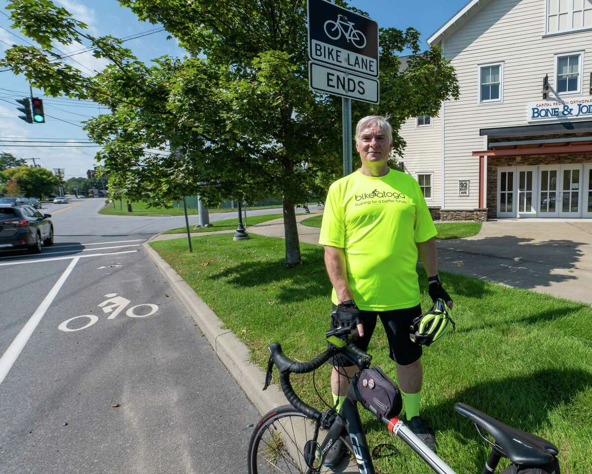 Ed Lindner, of Bikeatoga, stands on Excelsior Avenue in Saratoga where the bike lane abruptly ends after about a quarter mile in each direction. (Jim Franco / Special to the Times Union)