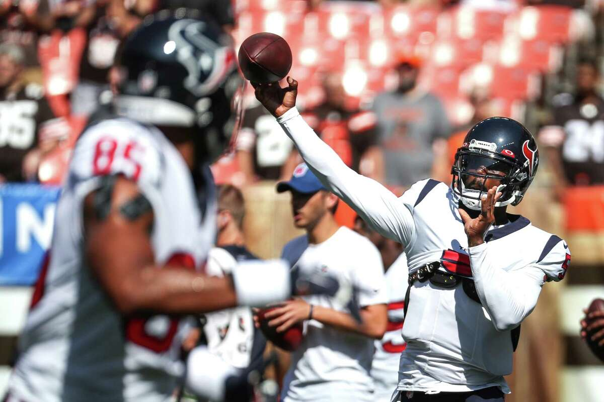 Houston Texans quarterback Tyrod Taylor (5) throws the ball during warm ups before an NFL football game against the Cleveland Browns Sunday, Sept. 19, 2021, in Cleveland.