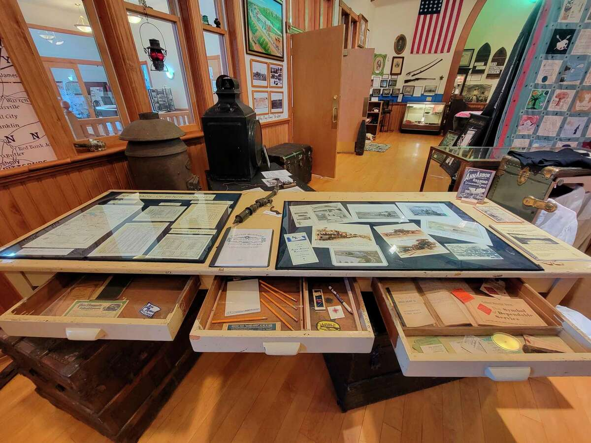 Documents from the Ann Arbor Railroad and the car ferries are being displayed at the Benzie Area Historical Museum. (Colin Merry/Record Patriot)