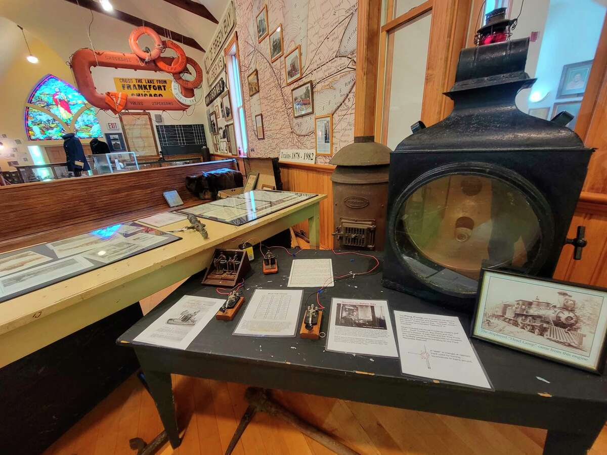 Lanterns use to light the way for trains on the Ann Arbor Railroad are on display at the Benzie Area Historical Society. (Colin Merry/Record Patriot)