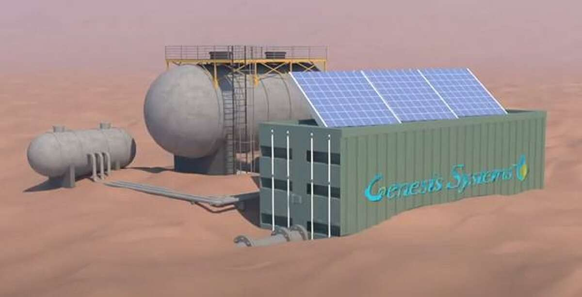 A rendering of Genesis Systems' water generation system. The company's goal is to deploy the units to arid or remote locations and provide water using renewable energy.