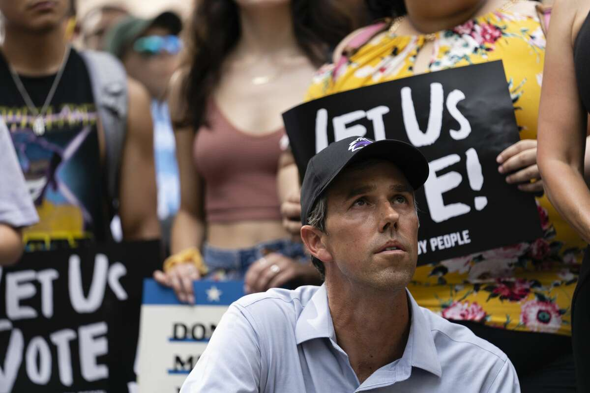 Former Texas Rep. Beto O'Rourke waits to speak at a rally organized by Powered by People, an El Paso-based voter outreach group, at the Texas Capitol in Austin on June 20, 2021.