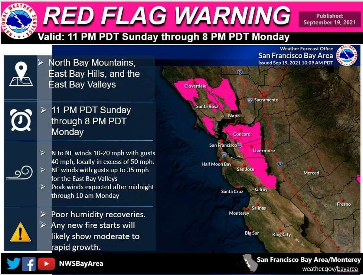 A National Weather Service map showing regions affected by an upcoming red flag warning, signaling heightened fire danger for parts of the Bay Area.
