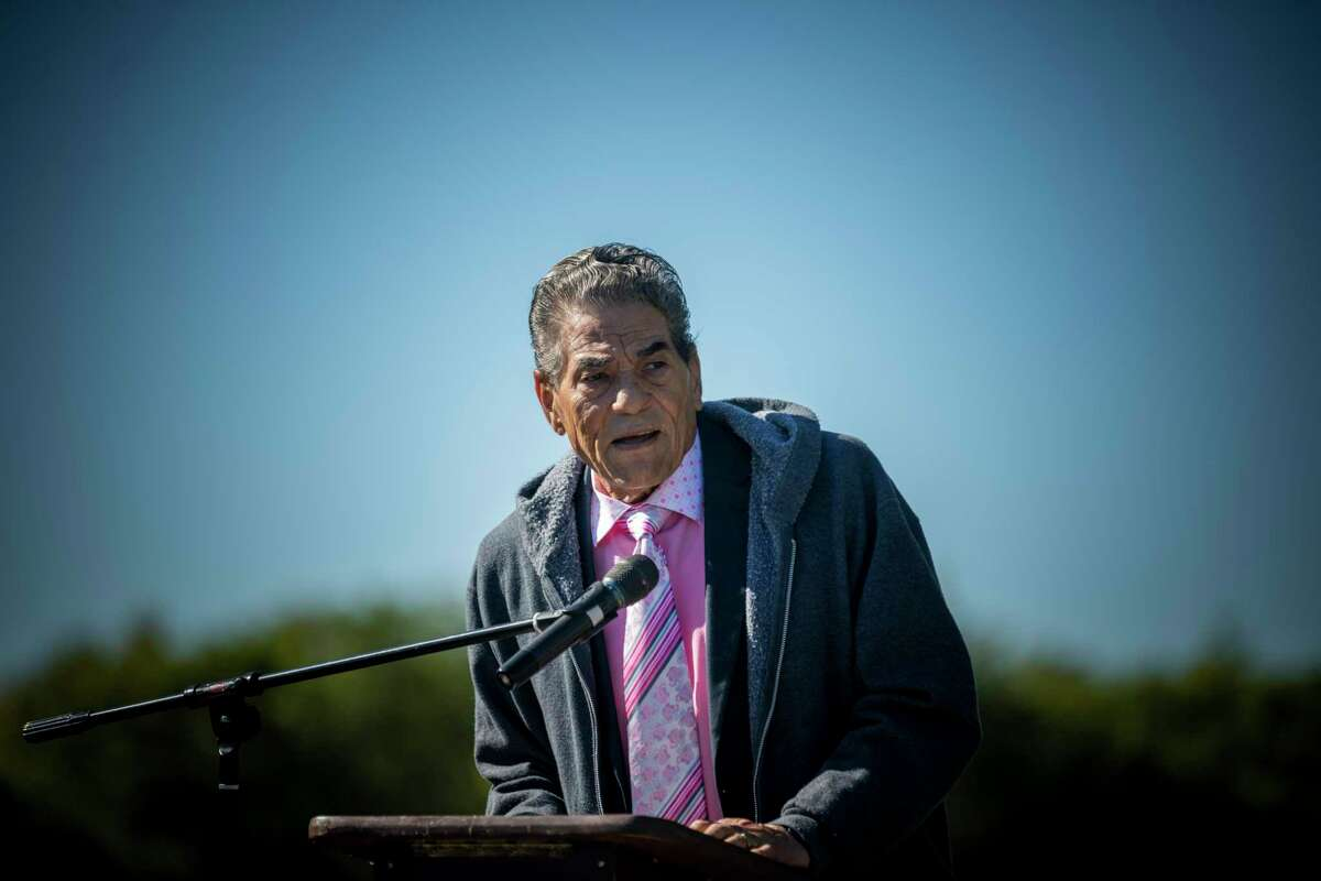 Rev. Joe Webb Sr., a community leader on San Antonio's East Side and District 2 city councilman for 14 years, spoke during a new dedication of the Eastview Cemetery in 2019. Webb died on Saturday at 86 years old.