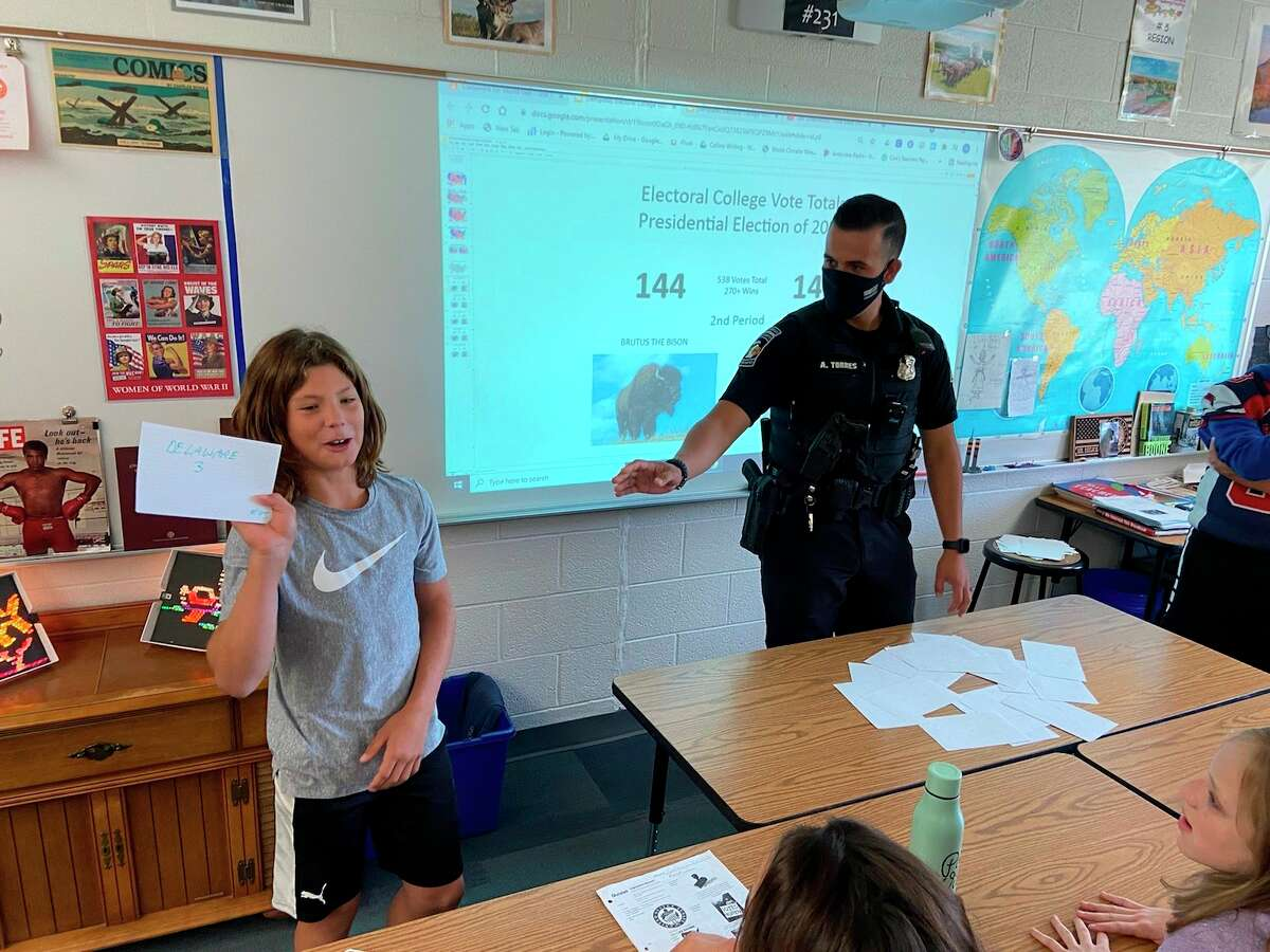 """Big Rapidssixth grade student Stosh Freiberg shares with the class his pick of """"Delaware:3 Electoral Votes"""" as part of a mock election to determine the president of the United States as part of Constitution Day events Sept. 17. (Courtesy/Mark Brejcha)"""