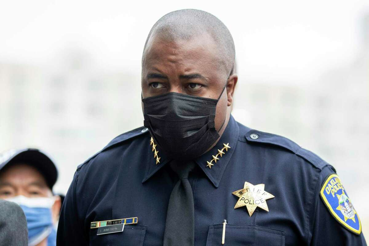 Oakland Police Department Chief LeRonne Armstrong stands during a press conference in Oakland, Calif. Nine Oakland police officers were disciplined for engaging with a racist and sexist Instagram account set up by a former officer, officials said.