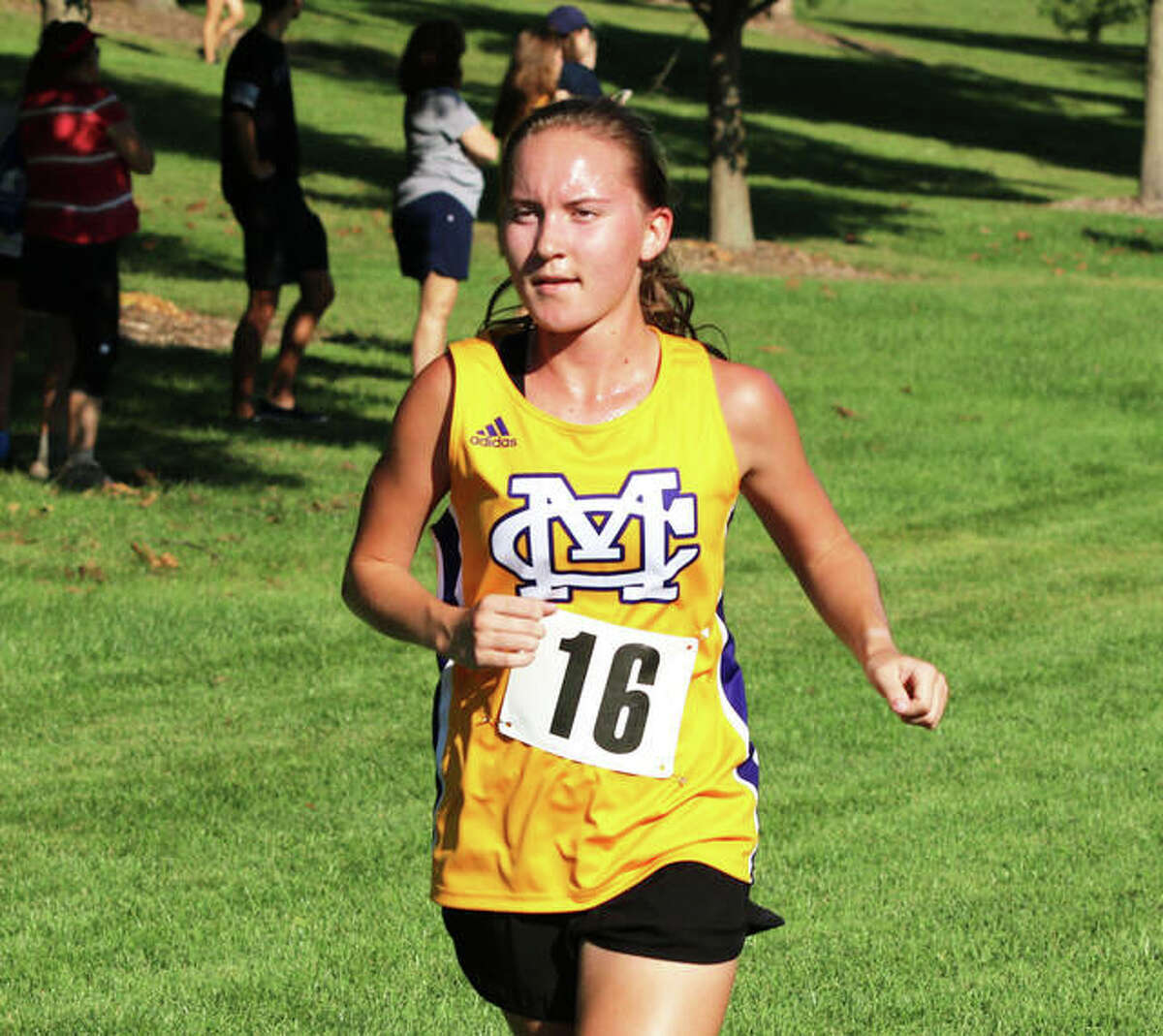 CM's Hannah Meiser runs during Saturday's Highland Invitational in Alhambra. Meiser ran second in the race.