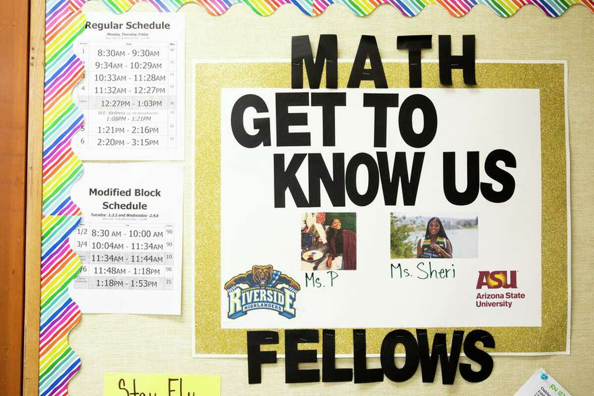 A poster introduces two math fellows, Shreya Parthiban and Sheri Sherman, inside a BluePrint Math support class at Westlake Middle School in Oakland. Westlake is using some of the funding it received for math classes for small groups of kids on the cusp of proficiency.