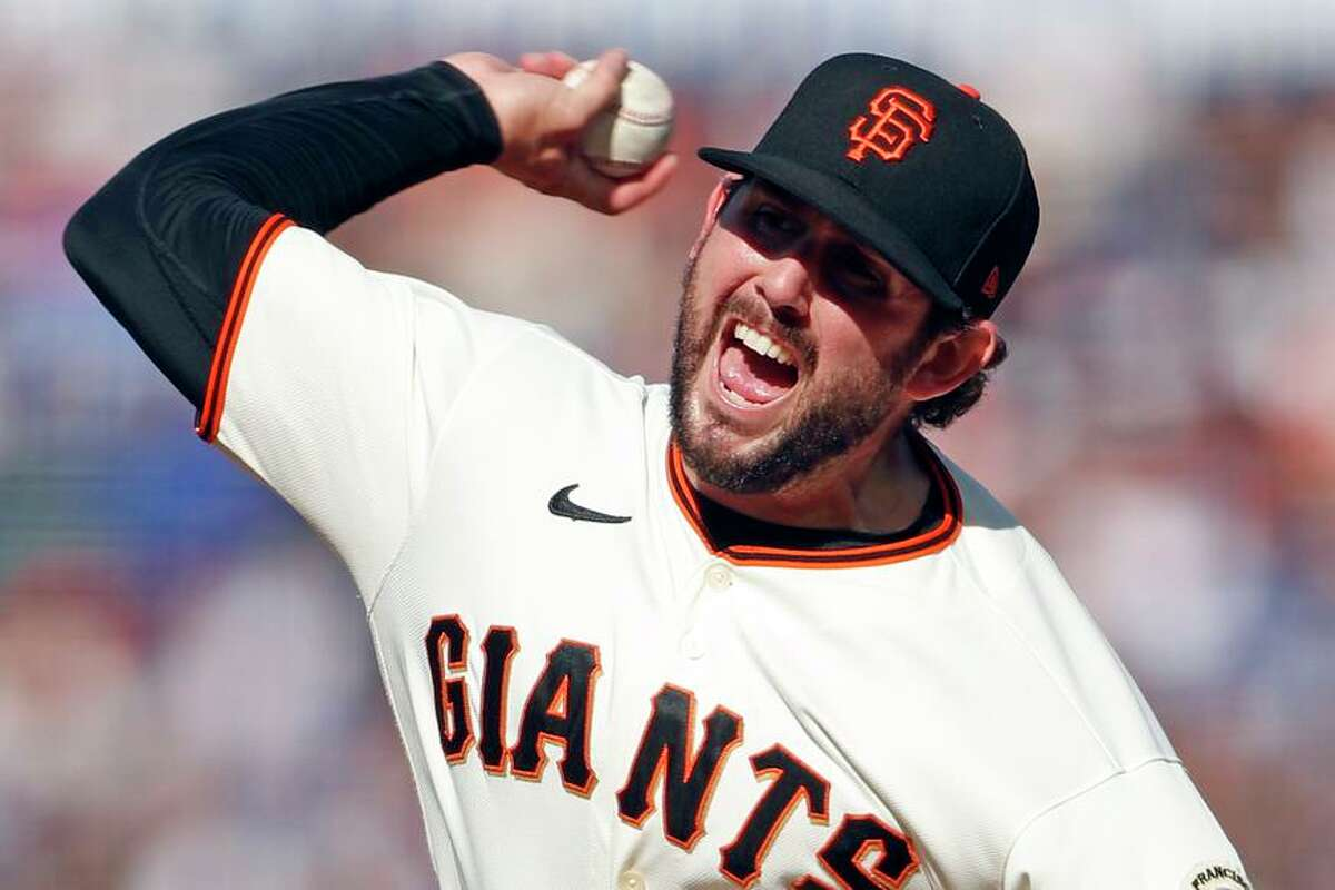 San Francisco Giants' Dominic Leone pitches in 1st inning against Los Angeles Dodgers during MLB game at Oracle Park in San Francisco, Calif., on Sunday, September 5, 2021.