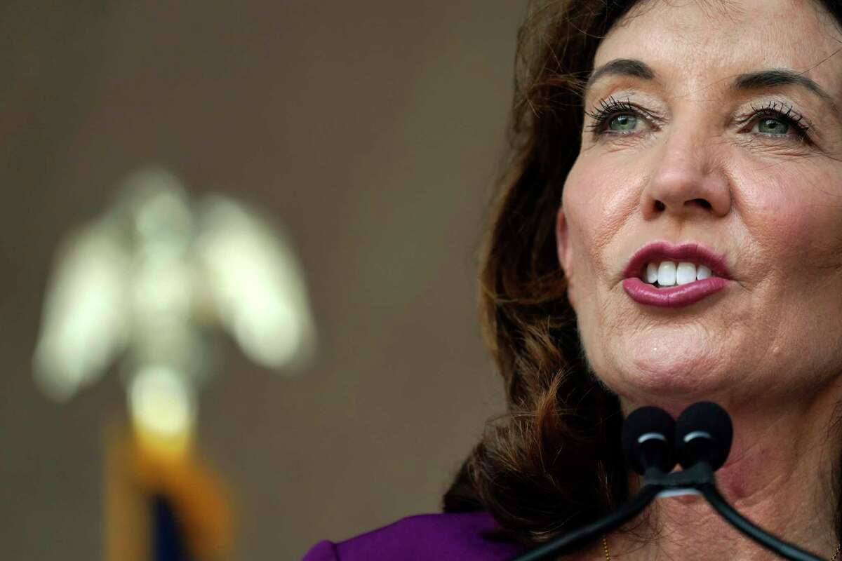Gov. Kathy Hochul said she will pull health care workers from the National Guard and other states, if necessary, as thousands of hospital workers face suspension and firing beginning Monday for not being vaccinated against coronavirus.(AP Photo/Mary Altaffer, File)