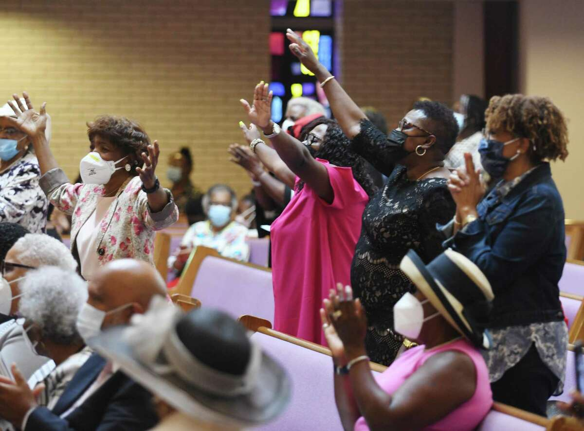 Congregants attend the Rev. Dr. Robert Perry's Retirement Celebration Service at Union Baptist Church in Stamford, Conn. Sunday, Sept. 19, 2021. Over Perry's 48 year tenure, the church moved from Adams Avenue to Newfield Avenue, underwent and completed a multimillion-dollar construction project, and later burned its mortgage.