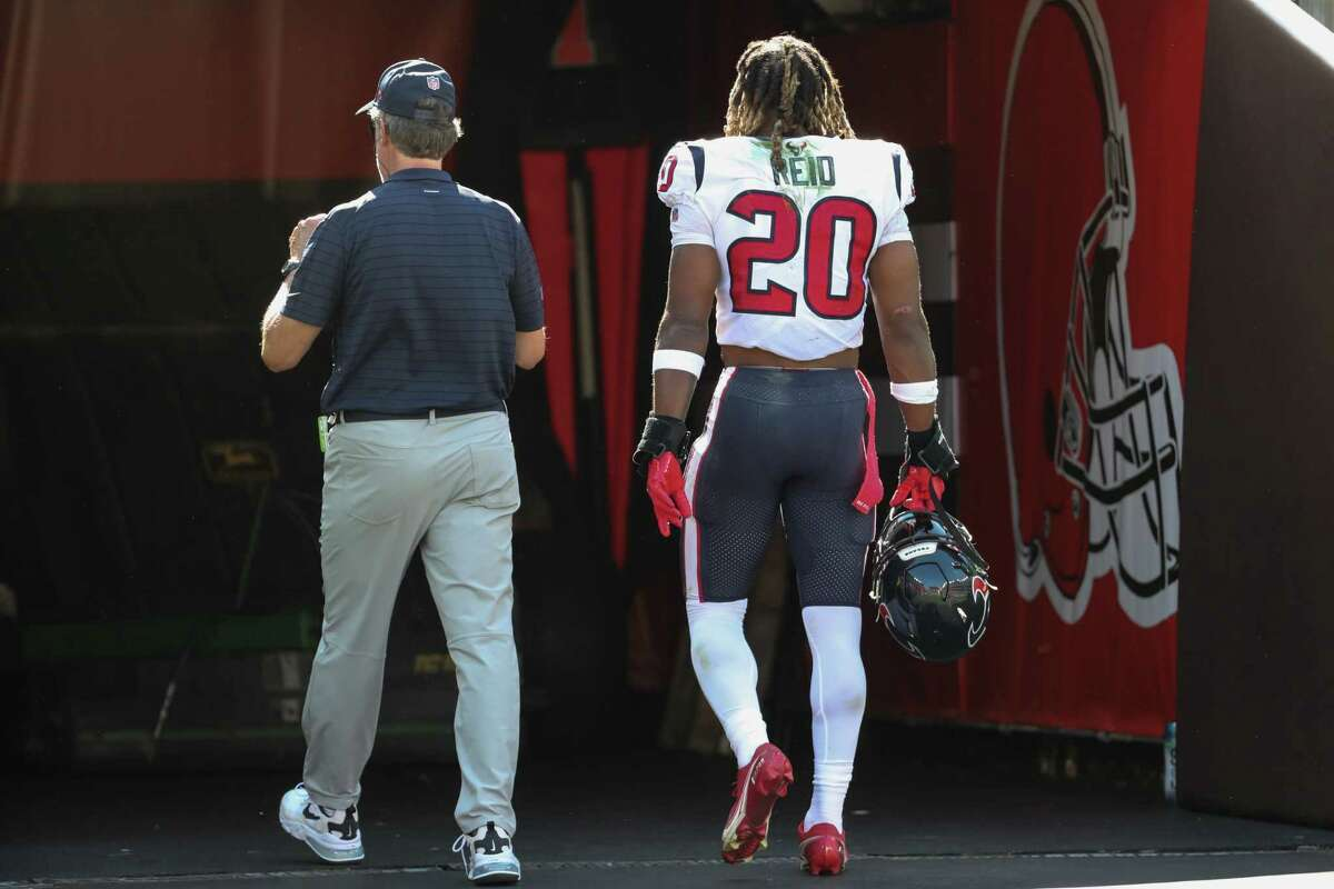 Houston Texans safety Justin Reid (20) walks off the field after suffering an injury against the Cleveland Browns during the second half of an NFL football game Sunday, Sept. 19, 2021, in Cleveland.