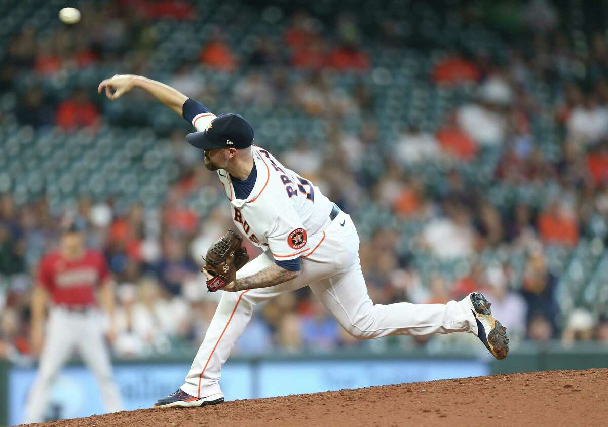 Astros relief pitcher Ryan Pressly underwent knee surgery in August 2019 but returned later that season and has made 62 appearances this year.