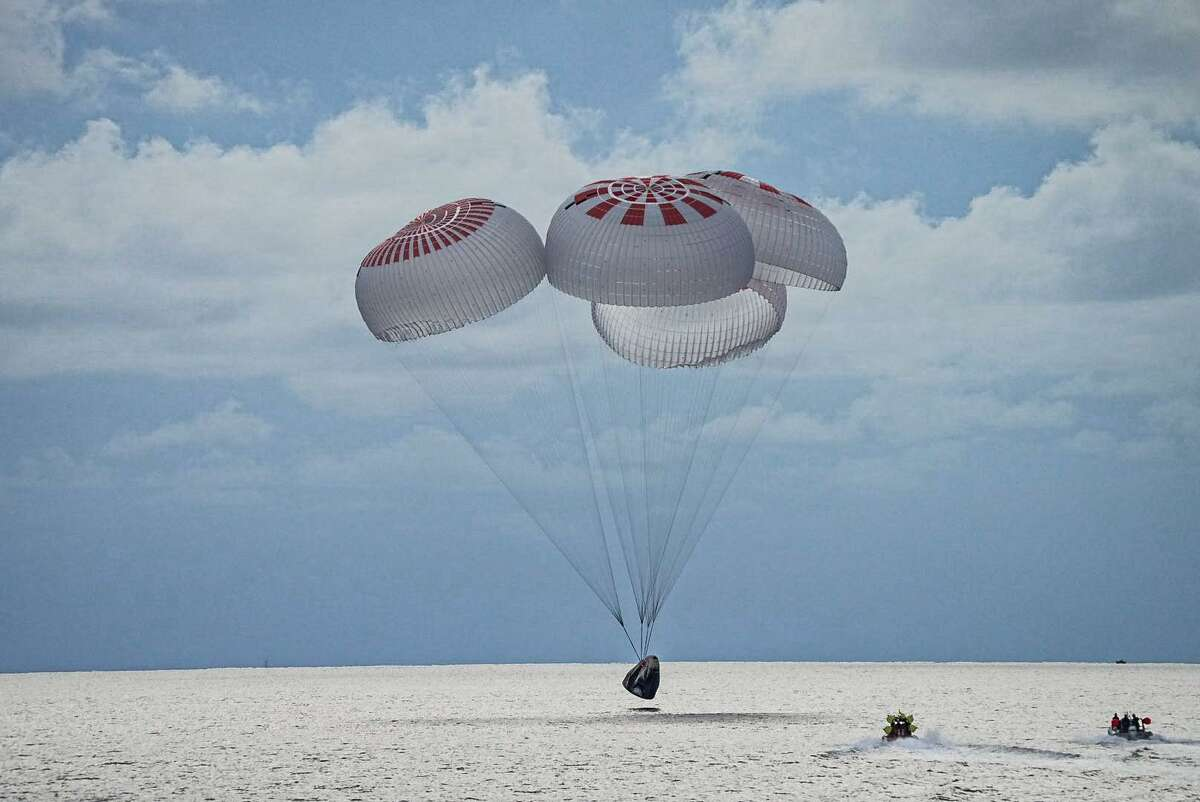 The SpaceX Crew Dragon capsule carrying the Inspiration4 crew landed in the Atlantic Ocean off the coast of Florida on Saturday, Sept. 18, 2021, at 6:06 p.m. CDT. This ended a three-day mission orbiting the Earth.