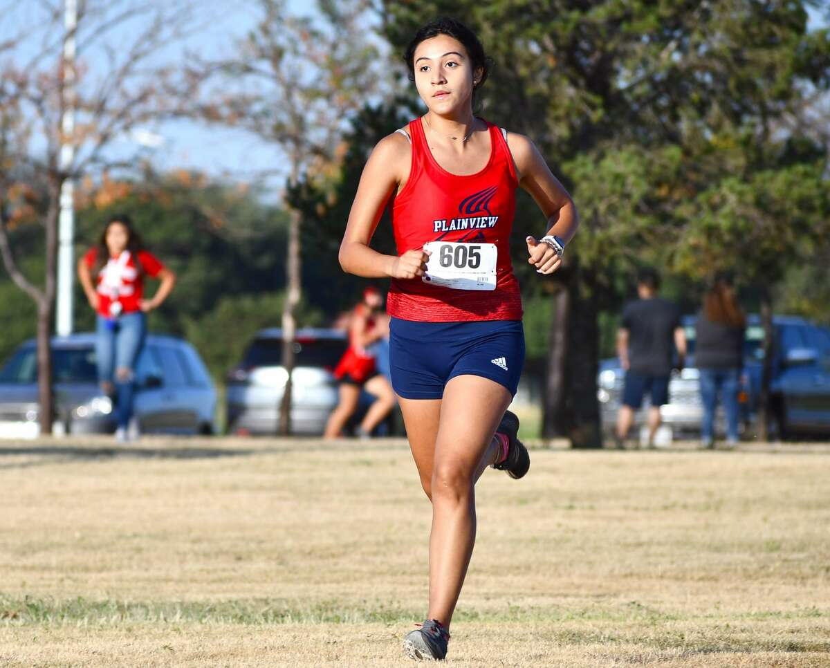 Plainview's Kelsie Valdez led the girls contingent of runners during the Plainview Cross Country Invitational at Runningwater Draw Regional Park at Kidsville on Saturday morning.
