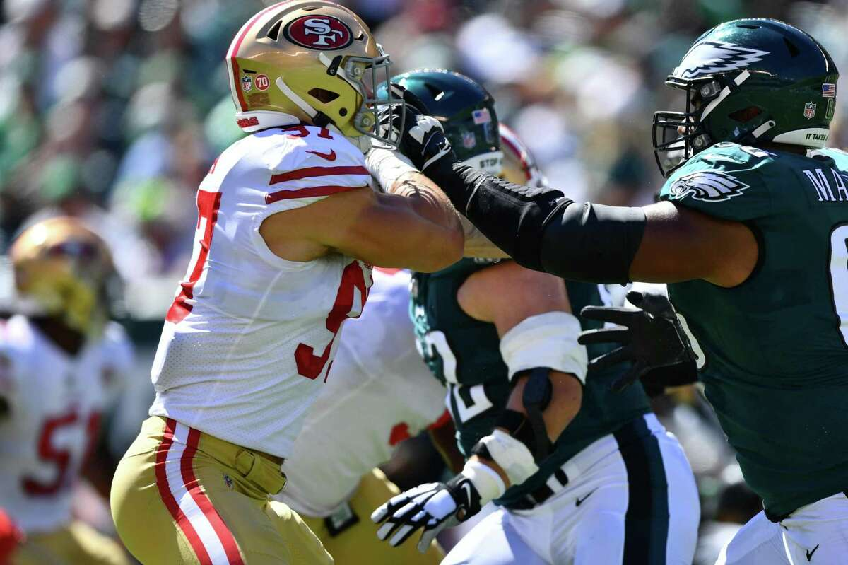 PHILADELPHIA, PA - SEPTEMBER 19: Philadelphia Eagles T Jordan Mailata (68) blocks San Francisco 49ers DL Nick Bosa (97) in the first half during the game between the San Francisco 49ers and Philadelphia Eagles on September 19, 2021 at Lincoln Financial Field in Philadelphia, PA. (Photo by Kyle Ross/Icon Sportswire via Getty Images)