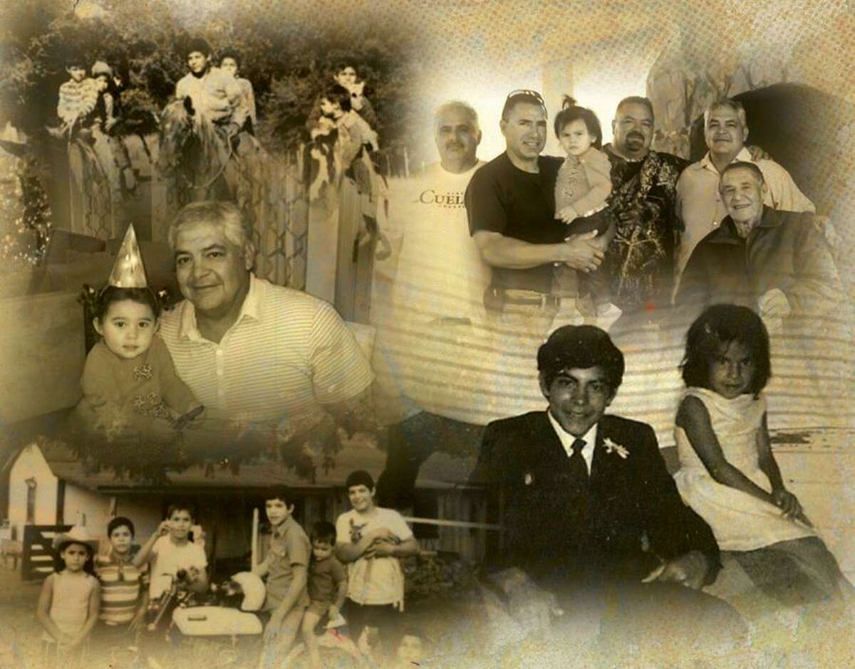 This photo illustration comprised of photos provided by the Cuellar family shows Carlos Cuellar and his family. Cuellar died on Saturday, Sept. 4, 2021. He was 64.