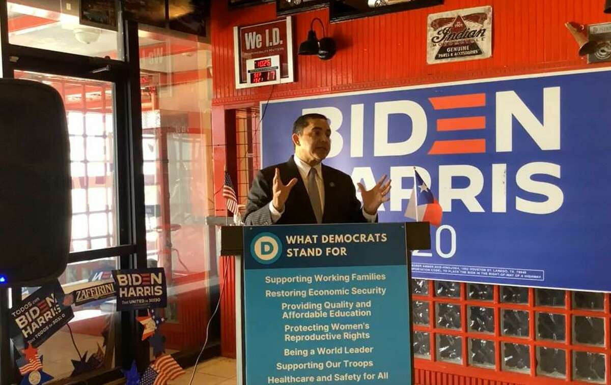 Rep. Henry Cuellar speaks during an event hosted Friday, Sept. 17, 2021 at the Webb County Democratic Party headquarters.
