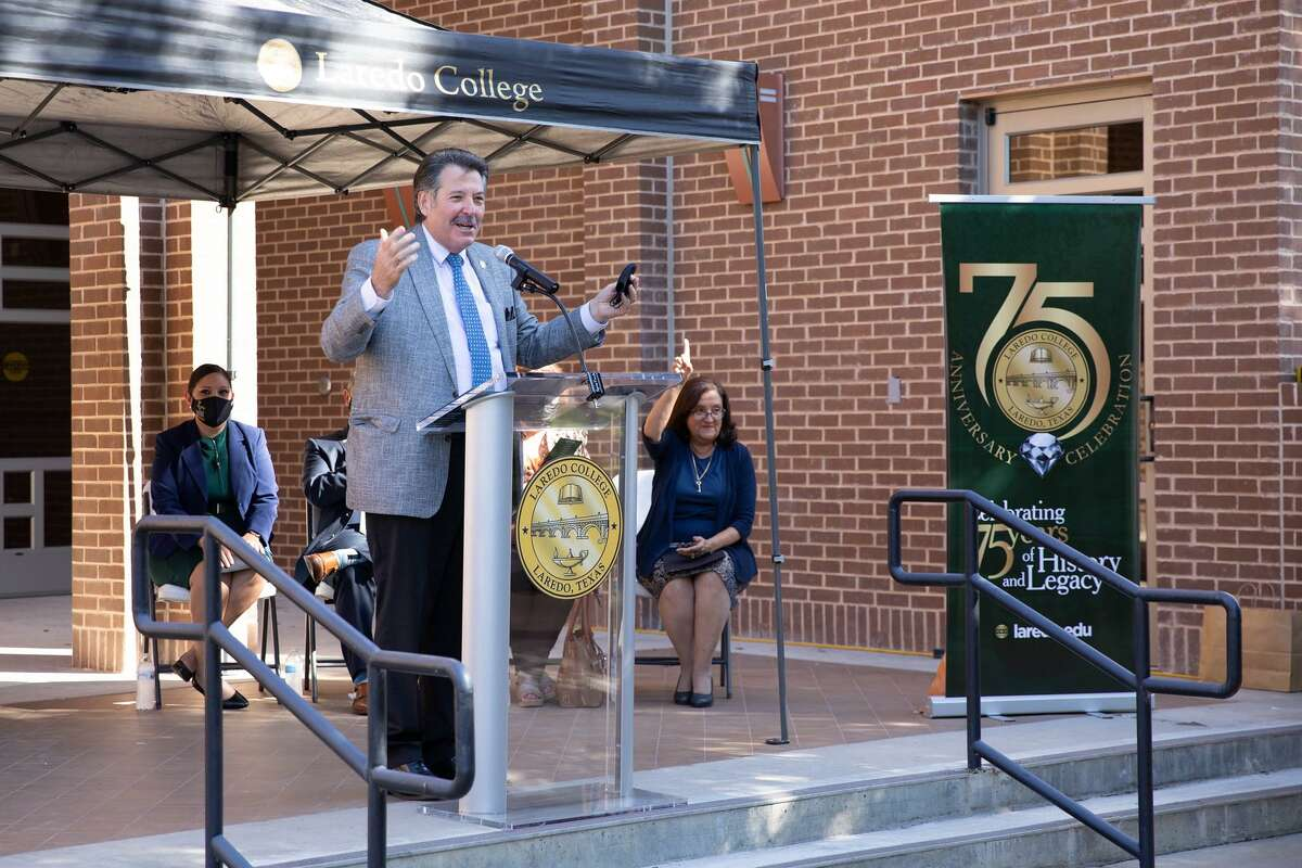 Laredo Mayor Pete Saenz speaks at an event honoring Laredo College for its 75th anniversary on Tuesday, Sept. 14, 2021