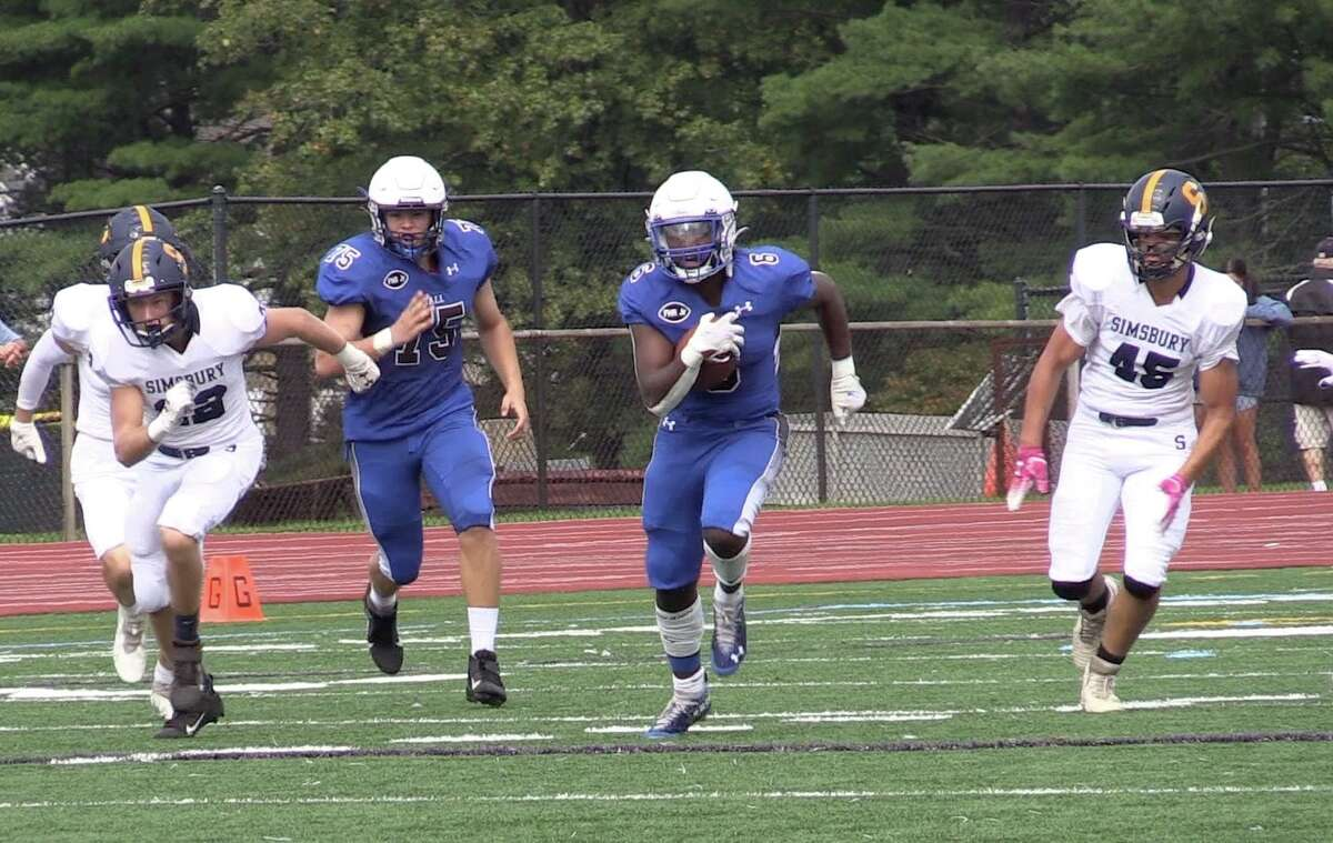 Hall's Leo Perreira rushed for 208 yards and four touchdowns on 34 carries against Simsbury Saturday.